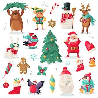Postacie świąteczne. kreskówka zwierzęta gil, niedźwiedź, królik i pingwin, prezent na boże narodzenie. santa i bałwan, drzewo świąteczne, elf i jeleń nowy rok wektor na białym tle zestaw