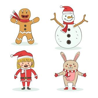 Postacie świąteczne paczka ręcznie rysowane