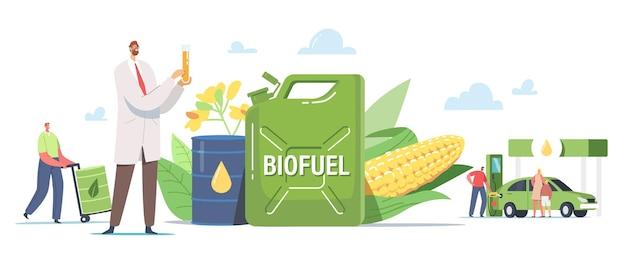 Postacie tankujące samochód z biopaliwem na stacji. man pumping eco benzyna, benzyna do ładowania auto. usługa napełniania pojazdów gazem lub biodieslem, naukowiec z kolbą. ilustracja wektorowa kreskówka ludzie