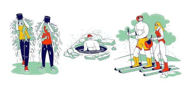 Postacie temper pływanie w lodowej dziurze, jazda na nartach bez ubrania. młodzi ludzie wylewanie wody na głowę zmoknięciem na zewnątrz w wyzwaniu sieci mediów wirusowych internetu. liniowa ilustracja wektorowa