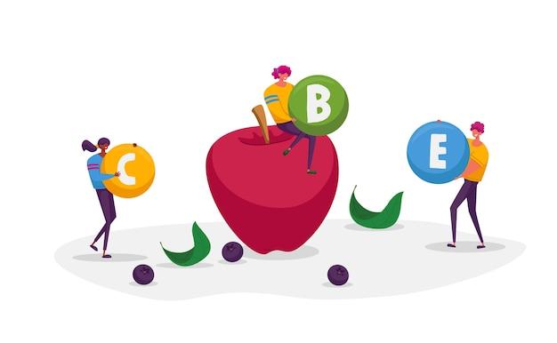 Postacie trzymają ogromne kule witaminowe wokół dojrzałego jabłka