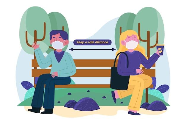 Postacie trzymające dystans społeczny na ławce