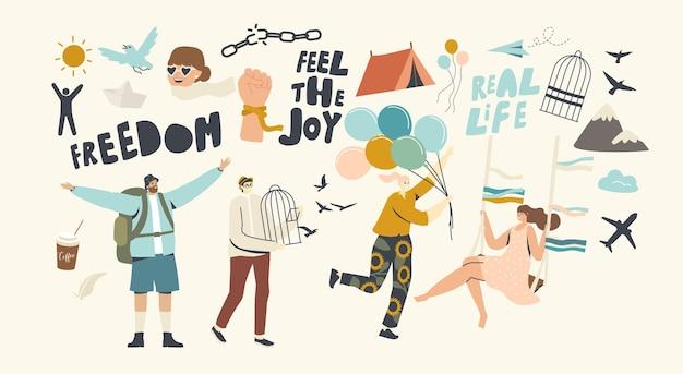 Postacie ucieczka domowej izolacji, pojęcie wolności. ludzie opuszczają klatki, łamią liny i łańcuchy i biegają z balonami powietrznymi, podróżują i latają z jaskółkami po covid19. liniowa ilustracja wektorowa
