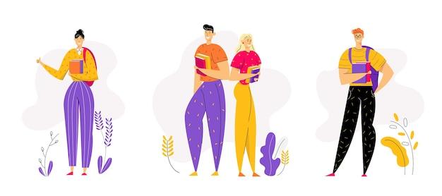 Postacie uczniów z plecakiem i książkami. studenci płci męskiej i żeńskiej z podręcznikiem. koncepcja ukończenia edukacji.