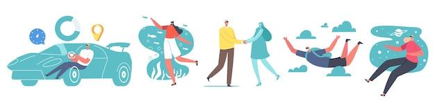 Postacie używają okularów vr do wirtualnej i rozszerzonej rzeczywistości. mężczyźni i kobiety w goglach jazdy samochodem, spadochroniarstwo, podwodna podróż kosmiczna i oceaniczna, randki. ilustracja wektorowa kreskówka ludzie
