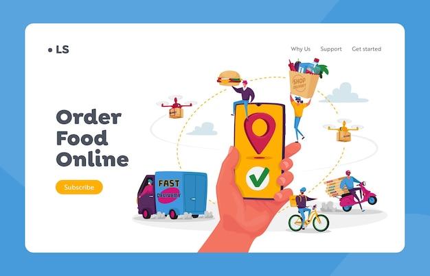 Postacie używają szablonu strony docelowej usługi dostarczania żywności online. ręka ze smartfonem i aplikacją do dostarczania paczek konsumentom