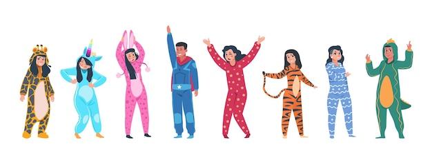 Postacie w ilustracji piżamy