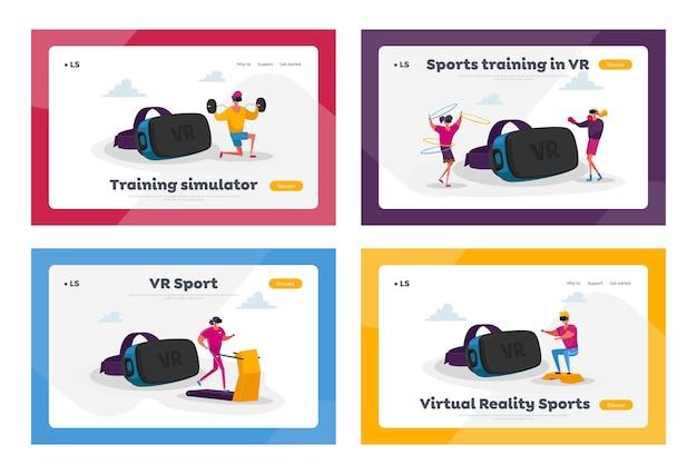 Postacie w sportowym treningu okularów vr