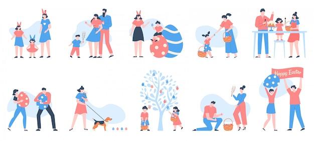 Postacie wielkanocne. ludzie niosący kosze jaj, kwiatów i słodyczy, świętujący rodzinę ze szczęśliwymi dziećmi w zestawie ilustracji polowania na jajka. święta wielkanocne, uroczystości rodzinne