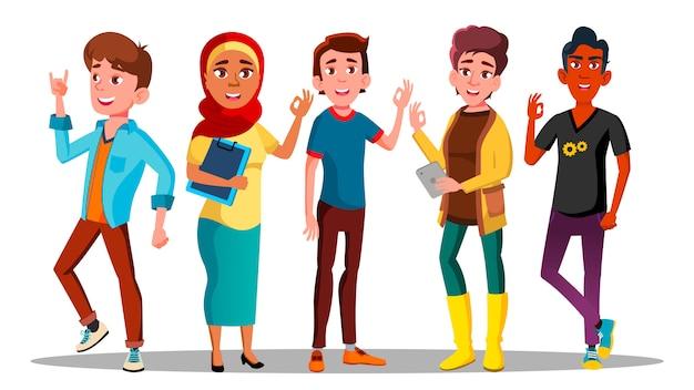 Postacie wielokulturowe zadowoleni ludzie