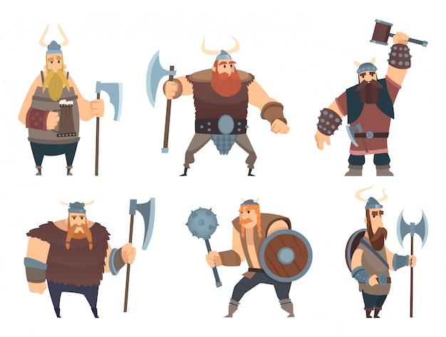Postacie wikingów. średniowieczni wojownicy norwescy wojownicy