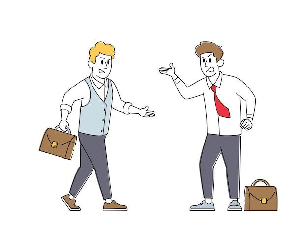 Postacie wściekłych biznesmenów kłócą się, przygotowują się do walki z machającymi pięściami i kłócą się