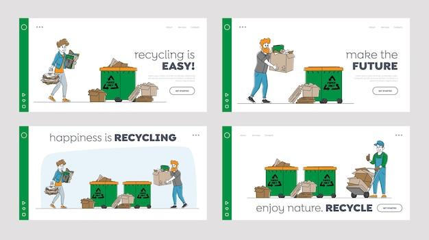 Postacie wyrzucają śmieci do koszów na śmieci