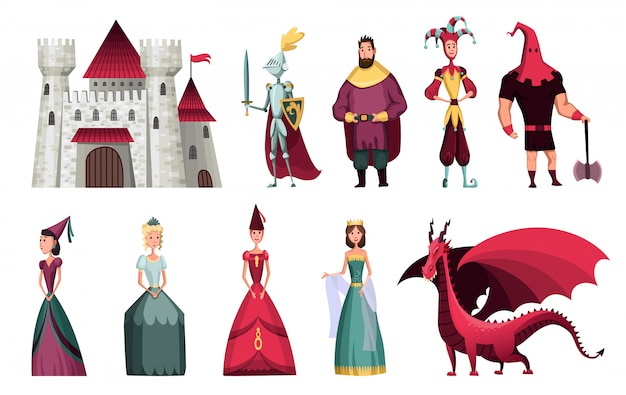 Postacie z bajek. fantasy rycerz i smok, książę i księżniczka, magiczna królowa świata i król z magią baśni zamku. bajki na białym tle kreskówka wektor zestaw ikon