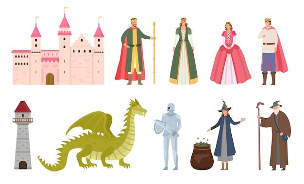 Postacie z bajek. kreskówka średniowieczny książę i księżniczka, smok, rycerz, czarownica i czarodziej. magiczny zamek królewski, królowa i król wektor zestaw. ilustracja bajka i królestwo, żołnierz i smok