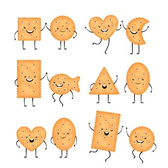 Postacie z krakersów. śmieszne ciasteczka biszkoptowe w stylu cartoon. uśmiechnięte chipsy, przekąski o różnych kształtach - koło, ryby i inne na białym tle. ilustracja wektorowa