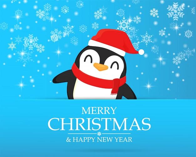 Postacie z kreskówek pingwinów świętują w boże narodzenie.