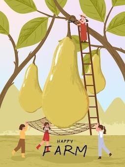 Postacie z kreskówek rolnika ze zbiorem owoców gruszki na ilustracjach plakatu rolniczego