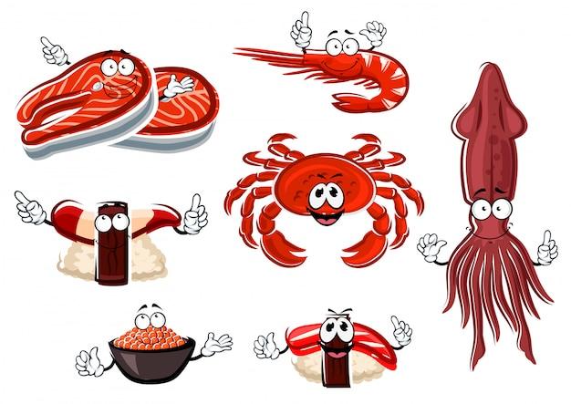 Postacie z kreskówek z owocami morza i zwierzętami