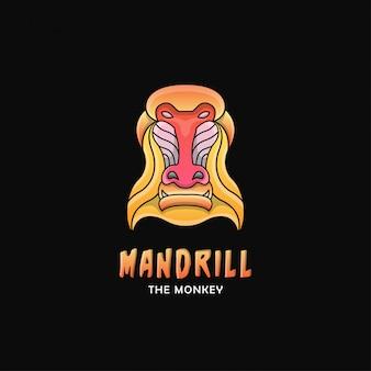 Postacie z logo małpy mandrylla. styl gradientu logo zwierząt