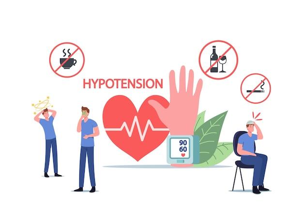 Postacie z objawami niedociśnienia pomiaru ciśnienia tętniczego krwi, koncepcja chorób kardiologicznych. maleńcy ludzie przy ogromnym tonometrze sprawdzającym ciśnienie skurczowe i rozkurczowe. ilustracja kreskówka wektor