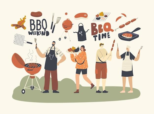 Postacie z rodziny lub przyjaciół spędzają czas na grillu na świeżym powietrzu. ludzie, gotowanie i jedzenie kiełbasek i mięsa z warzywami na podwórku zabawy z grilla w okresie letnim wakacje. liniowa ilustracja wektorowa