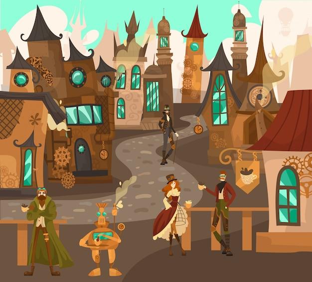 Postacie z technologii steampunk w bajkowym miasteczku ze starymi domami architektury europejskiej, fantasy zamki historia ilustracja kreskówka europa.