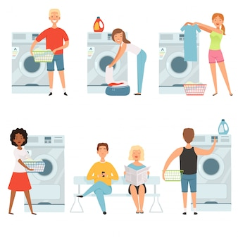 Postacie z usług pralni. projekt domu maskotka wektor prania