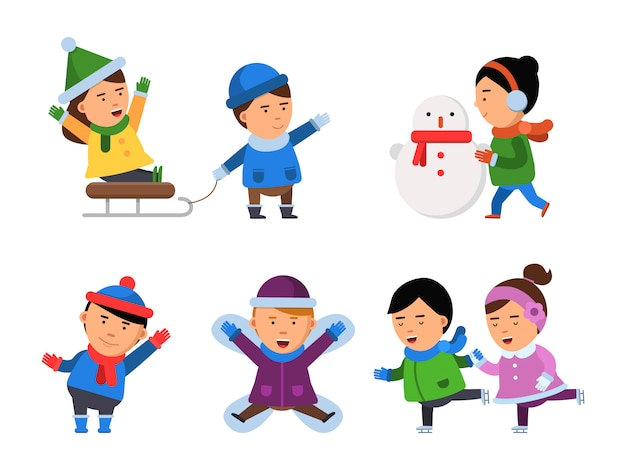 Postacie z zimowym uśmiechem. dzieci śnieg ubrania chłopców dziewcząt wigilijne dzieci bawiące się ilustracje na białym tle