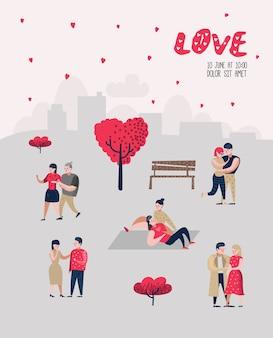 Postacie zakochanych ludzi na plakat