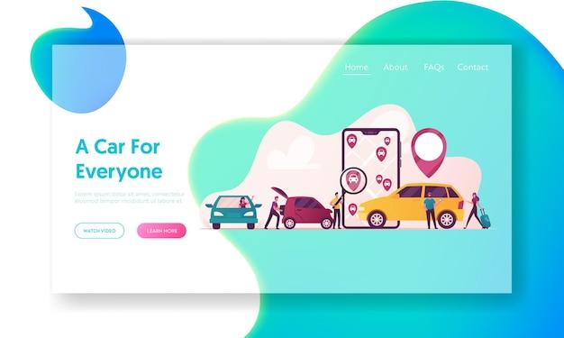 Postacie zamawiające online szablon strony docelowej samochodów taksówki.