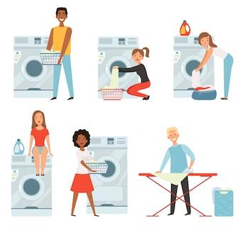 Postacie żeńskie w pralni.