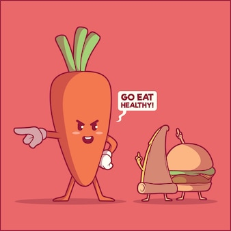 Postacie związane z jedzeniem. koncepcja projektu zdrowe, fitness, fast food
