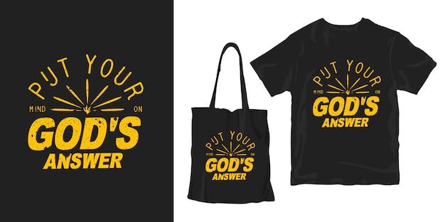 Postaw umysł na odpowiedź boga. motywacyjne cytaty typografia plakat koszulka merchandising projekt