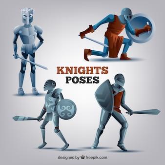 Postawy rycerzy z tarczami i mieczami