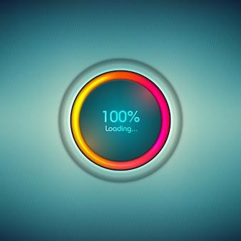 Postęp ładowania ikona z kolorową skalą. pasek ładowania cyfrowego znaku postępu.