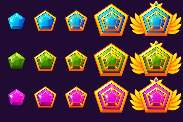 Postęp nagradzania klejnotów. złote amulety z biżuterią. zasoby ikon do projektowania gier.