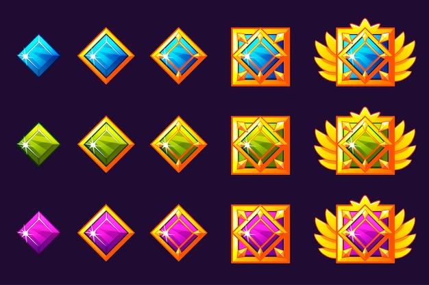 Postęp nagradzania klejnotów. złote amulety z kwadratową biżuterią. zasoby ikon do projektowania gier.