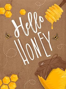 Poster hello honey craft