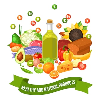 Poster of vitamin food products