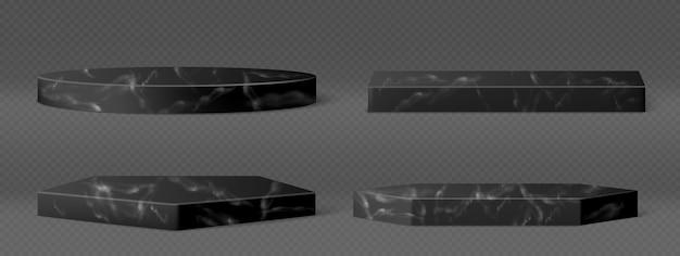 Postumenty z czarnego marmuru do wystawiania produktów kosmetycznych, eksponatów lub trofeów. wektor realistyczny zestaw pustych kamiennych podium, platformy o różnych kształtach na przezroczystym tle