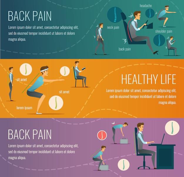 Postury płaskie poziome bannery z reklamą zdrowego życia