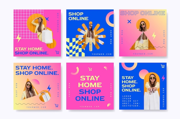 Posty na instagramie dotyczące zakupów online