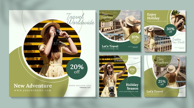 Posty na instagramie w sprzedaży podróży z pakietem zdjęć