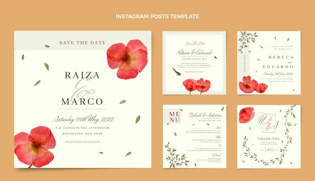 Posty na instagramie z akwarela kwiatowy ślub