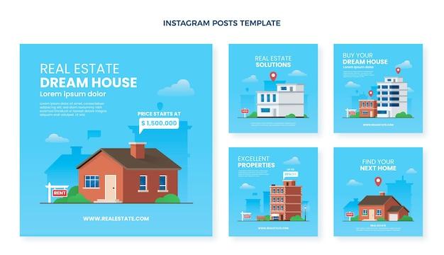 Posty na instagramie z gradientem nieruchomości