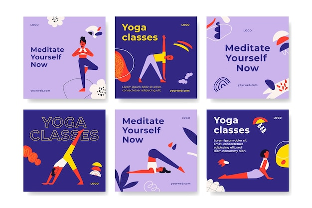 Posty Na Instagramie Z Jogą Yoga Darmowych Wektorów