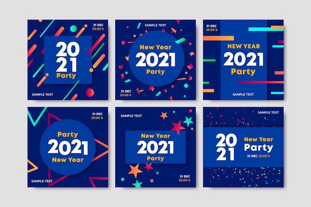 Posty na instagramie z niebieskim nowym rokiem 2021