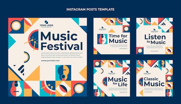 Posty na instagramie z płaskiej mozaiki muzycznej