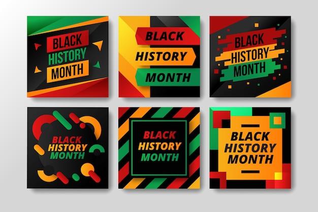 Posty na instagramie z płaskim czarnym miesiącem historii